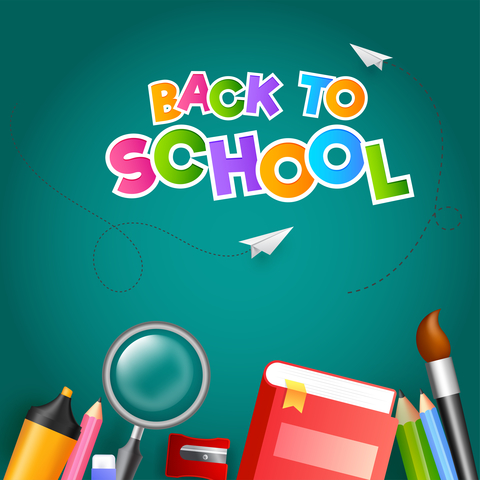 Colorful text Back To School with paper plane and education supplies element such as book, magnifying glass, colored pencil on green background.