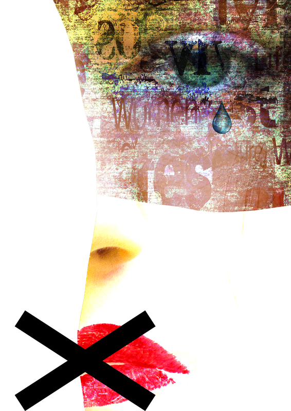 Mixed media. Contemporary art portrait of abused, banned to speak and express opinion woman